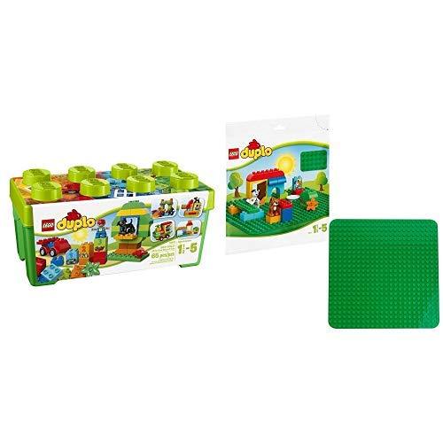 LEGO Duplo 10572 - Große Steinebox, Kreatives Lernspielzeug & Duplo 2304 - Große Bauplatte Kreatives Vorschulspielzeug, grün