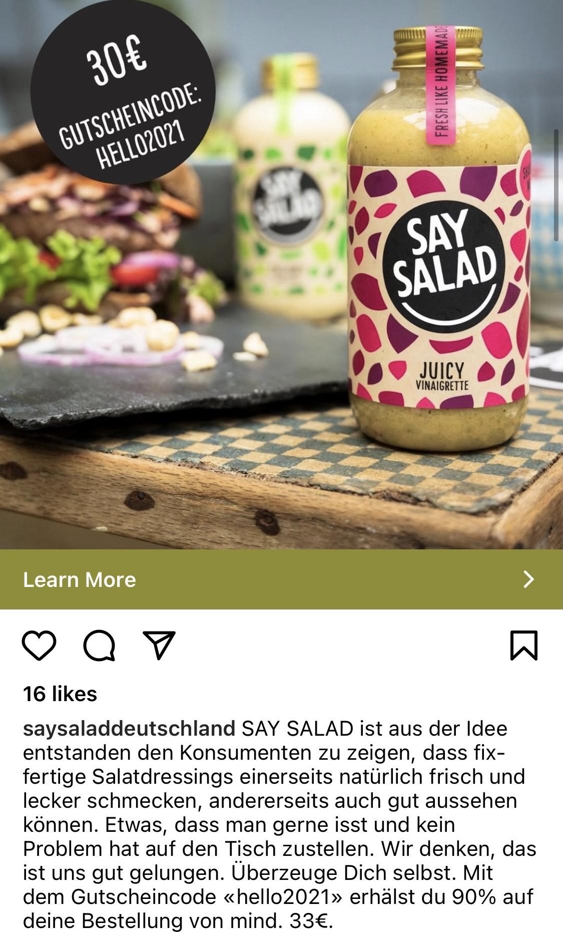 30€ Rabatt beim Kauf von 33€ Say Salad dressing (VEGAN)