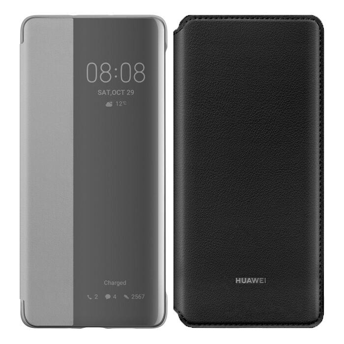 HUAWEI P30 Pro Smart View Flip Cover (khaki) und P30 Pro Wallet Cover (schwarz)