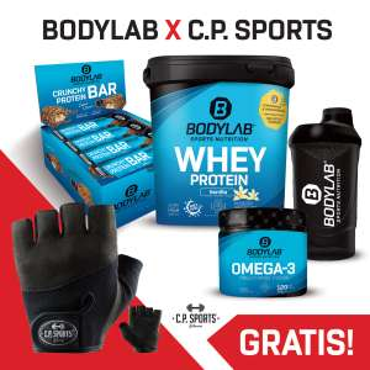 Bundle: 1kg Bodylab24 Whey Protein + 12x 64g Crunchy Protein Bar + 120 Kapseln Omega 3 + Shaker + Handschuhe oder (!) Handgelenksbandagen