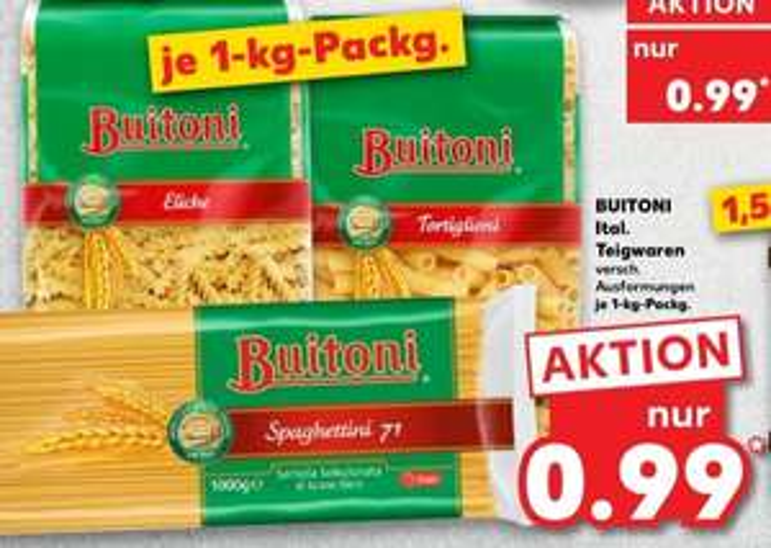 [Kaufland Do-Mi] Buitoni Nudeln 1Kg mit Marktkguru Cashback für effektiv 0,69€