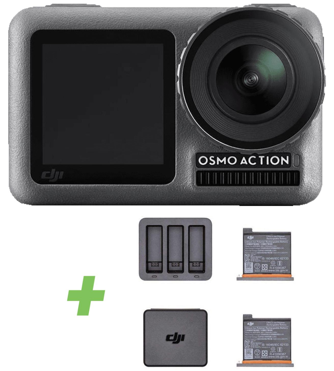 DJI Osmo Action Cam mit 2 Bildschirmen 11m wasserdicht 4K HDR-Video + Action Lade-Kit inkl. 2 Akkus für zusammen 239€ inkl. Versandkosten