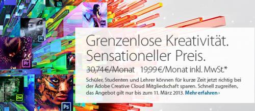 Adobe Creative Cloud nur 19,99 EUR (Studenten, Schüler, Lehrer)