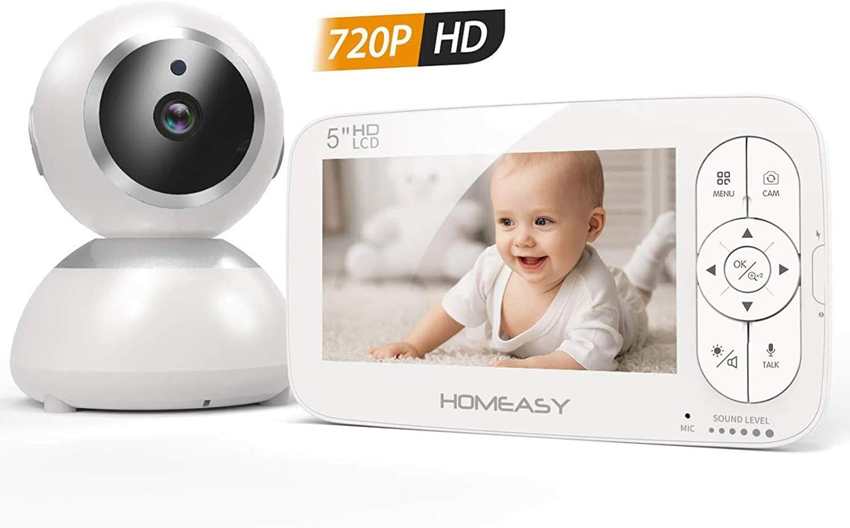 (Ausgewählte Prime Kunden) homeasy Babyphone mit Kamera 5 Zoll HD 720P Video
