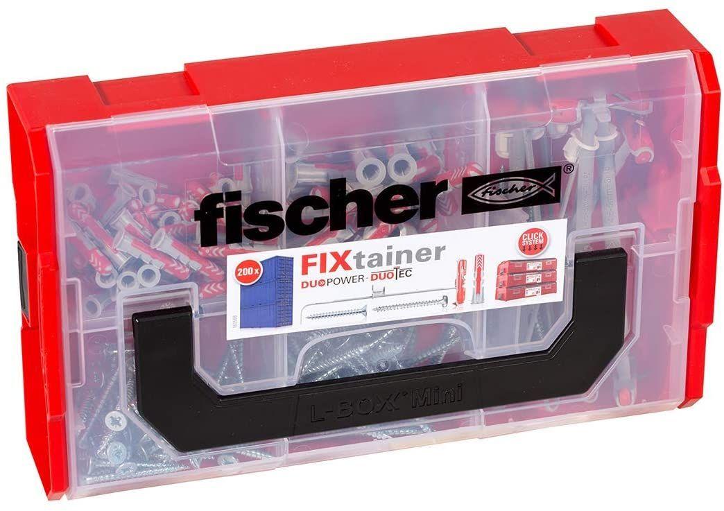 [Amazon Prime] fischer 541106 FIXtainer, Dübelset DUOPOWER und DUOTEC, Universaldübel und Kippdübel, 200 Teile