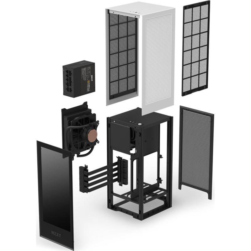 NZXT H1 weiß & schwarz Glasfenster, 650W SFX12V, 140mm AIO Wasserkühlung Gehäuse