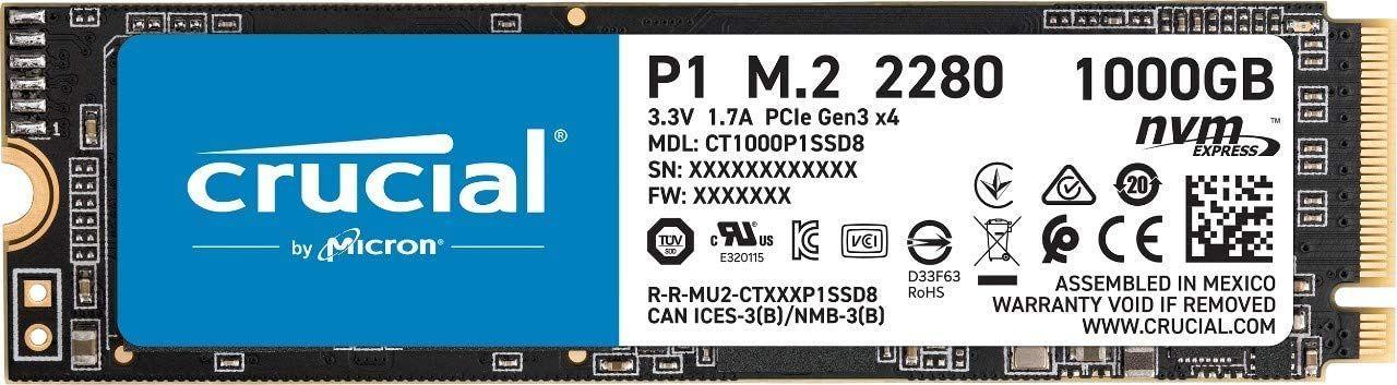 Crucial P1 1TB M.2 NVMe SSD (QLC, 1GB DRAM, ~140GB SLC Cache, bis R2000/W1700, 5 Jahre Garantie) + 4% Shoop