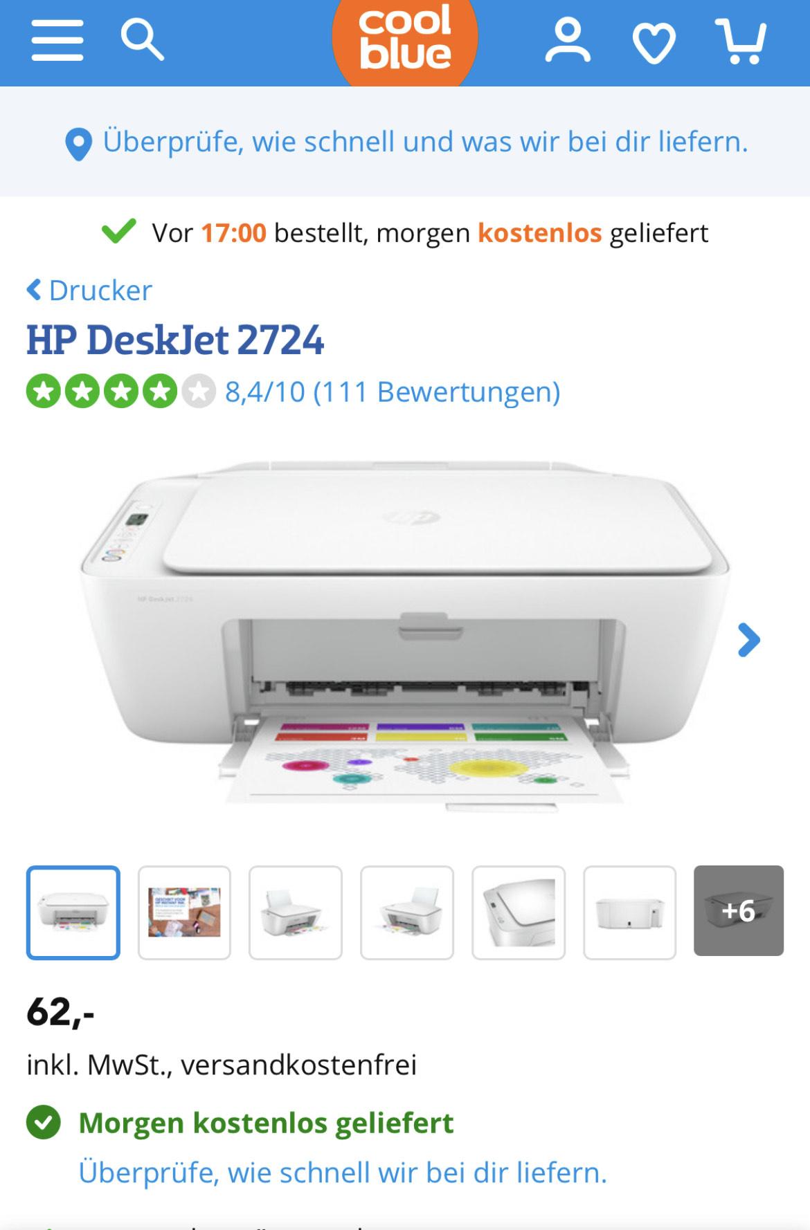 HP DeskJet 2724 bei Coolblue für 62€