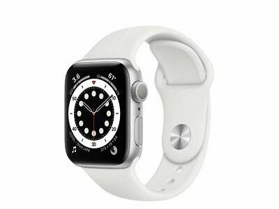 Apple Watch Series 6 40 mm, Aluminum silber, Sportarmband weiß