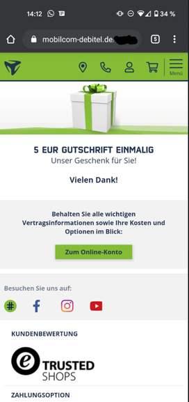 5€ Gutschein Mobilcom Debitel für Bestandskunden bei Hotline Anruf