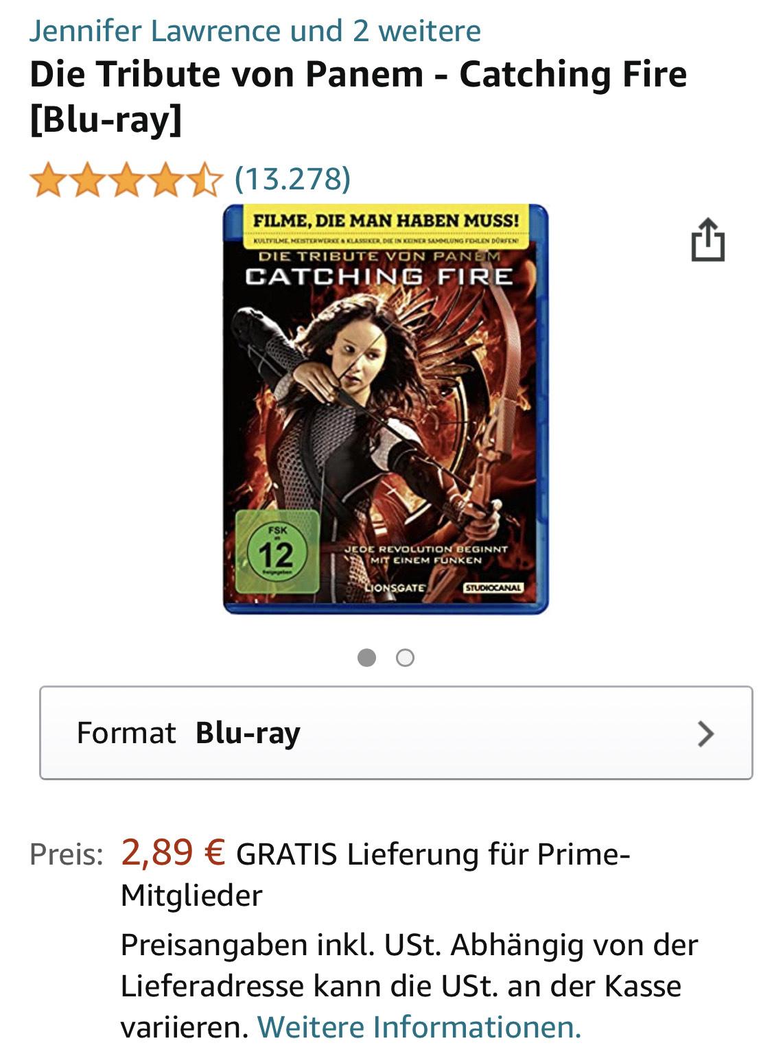Die Tribute von Panem - Catching Fire [Blu-ray] - Amazon Prime
