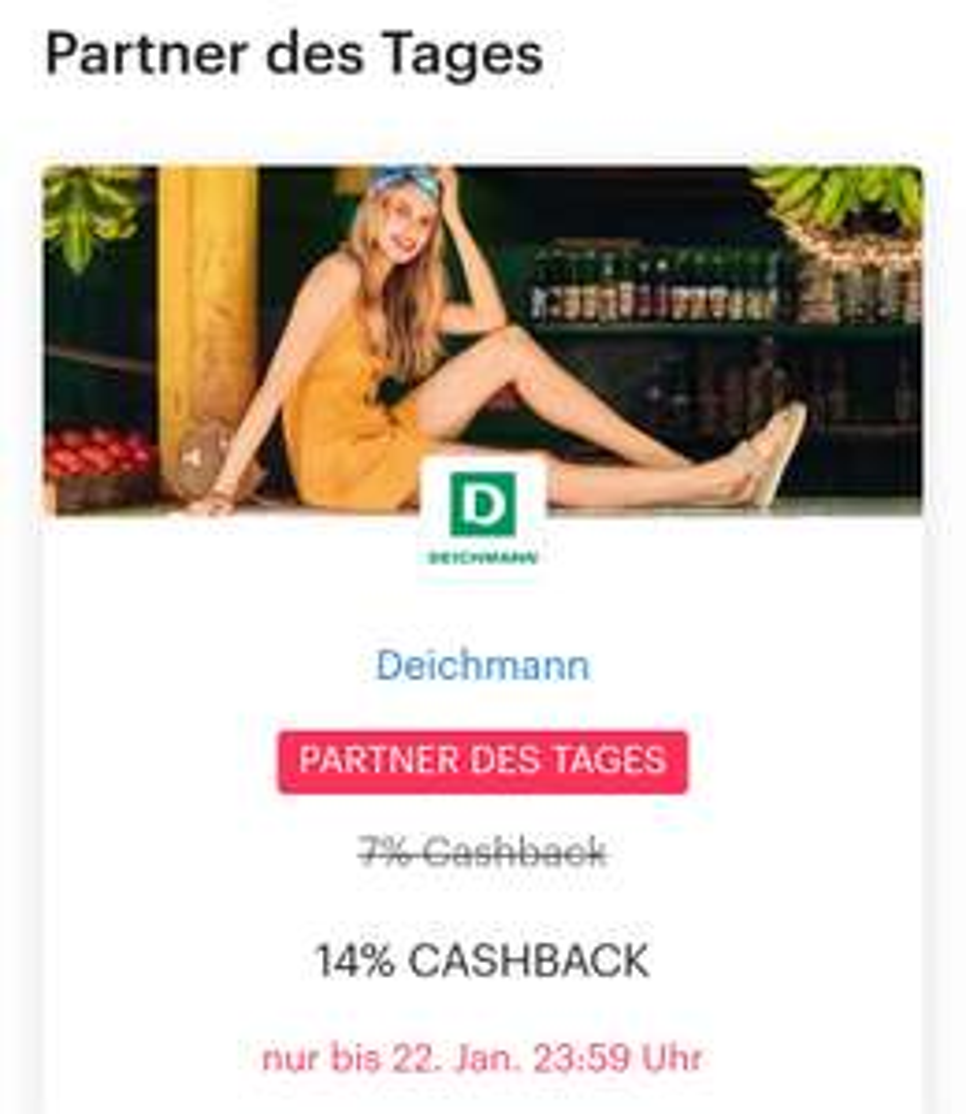 [Deichmann] nur heute 14% cashback über Shoop