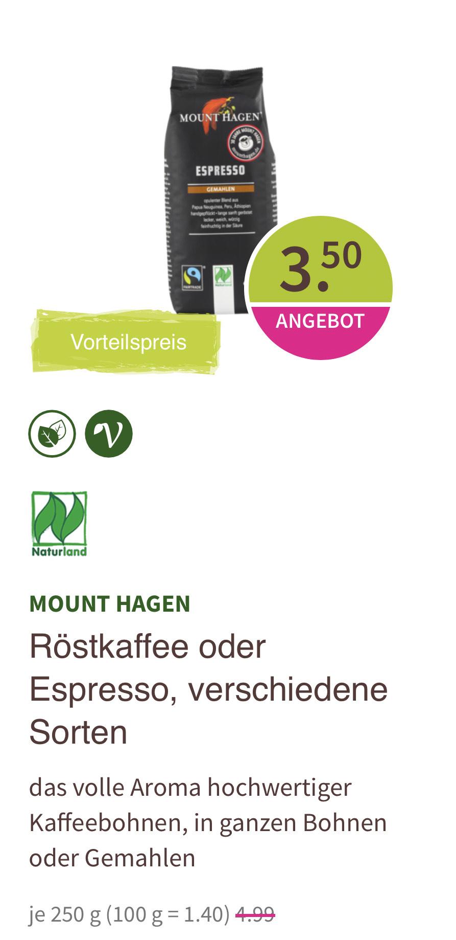 Offline: Mount Hagen Bio Fairtrade Espresso oder Röstkaffee (250g)