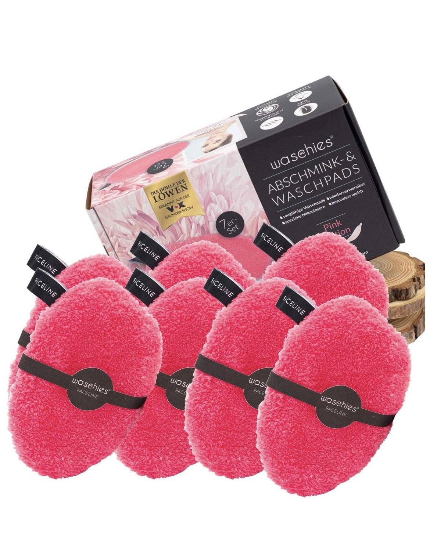 waschies® Faceline Waschbare Abschminkpads Edition Pink/Weiss 7er Set