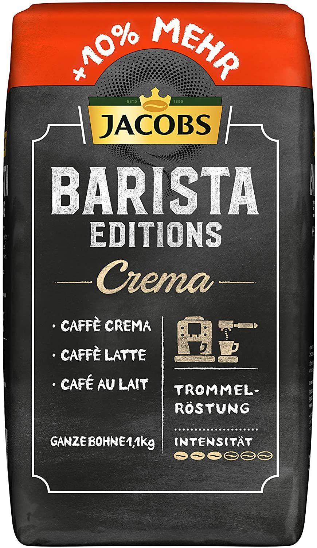[Prime Sparabo] Jacobs Kaffeebohnen Barista Editions Crema (nur für kurze Zeit) Vorteilspackung, 1er Pack (1 x 1100 g) Bohnenkaffee