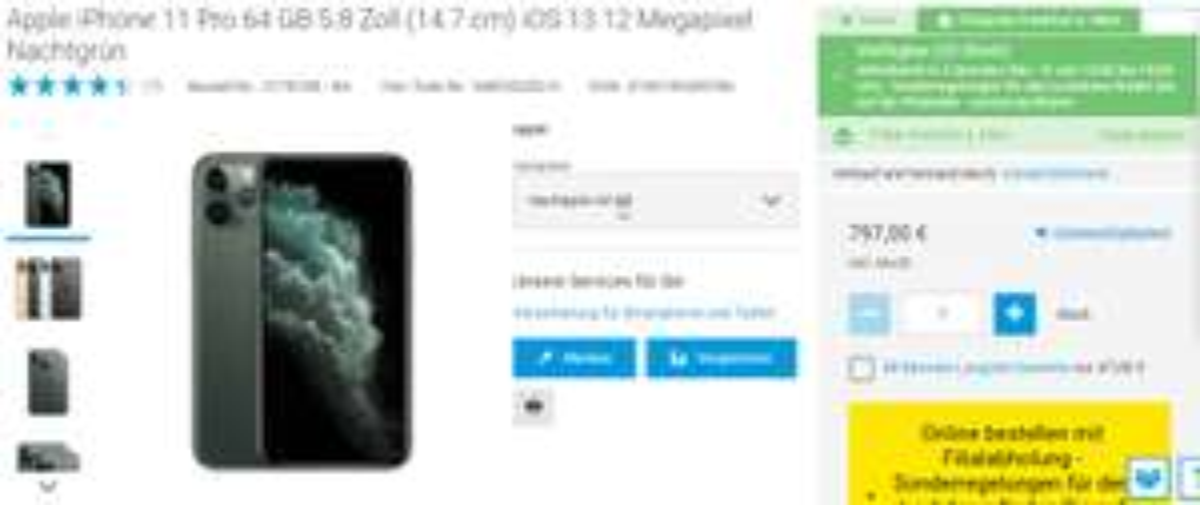 (Conrad Markt Frankfurt und via Völkner) Apple iPhone 11 Pro 64 GB Nachtgrün Versand oder Click & Collect
