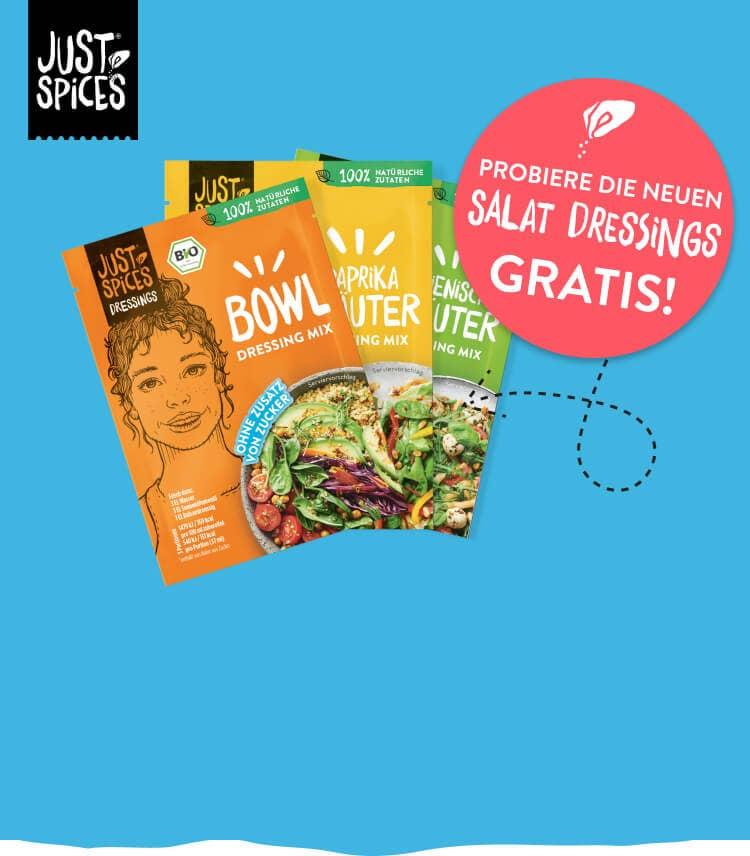 Kostenlos testen 100% Cashback auf 8 Just Spices Salatdressings (GzG)
