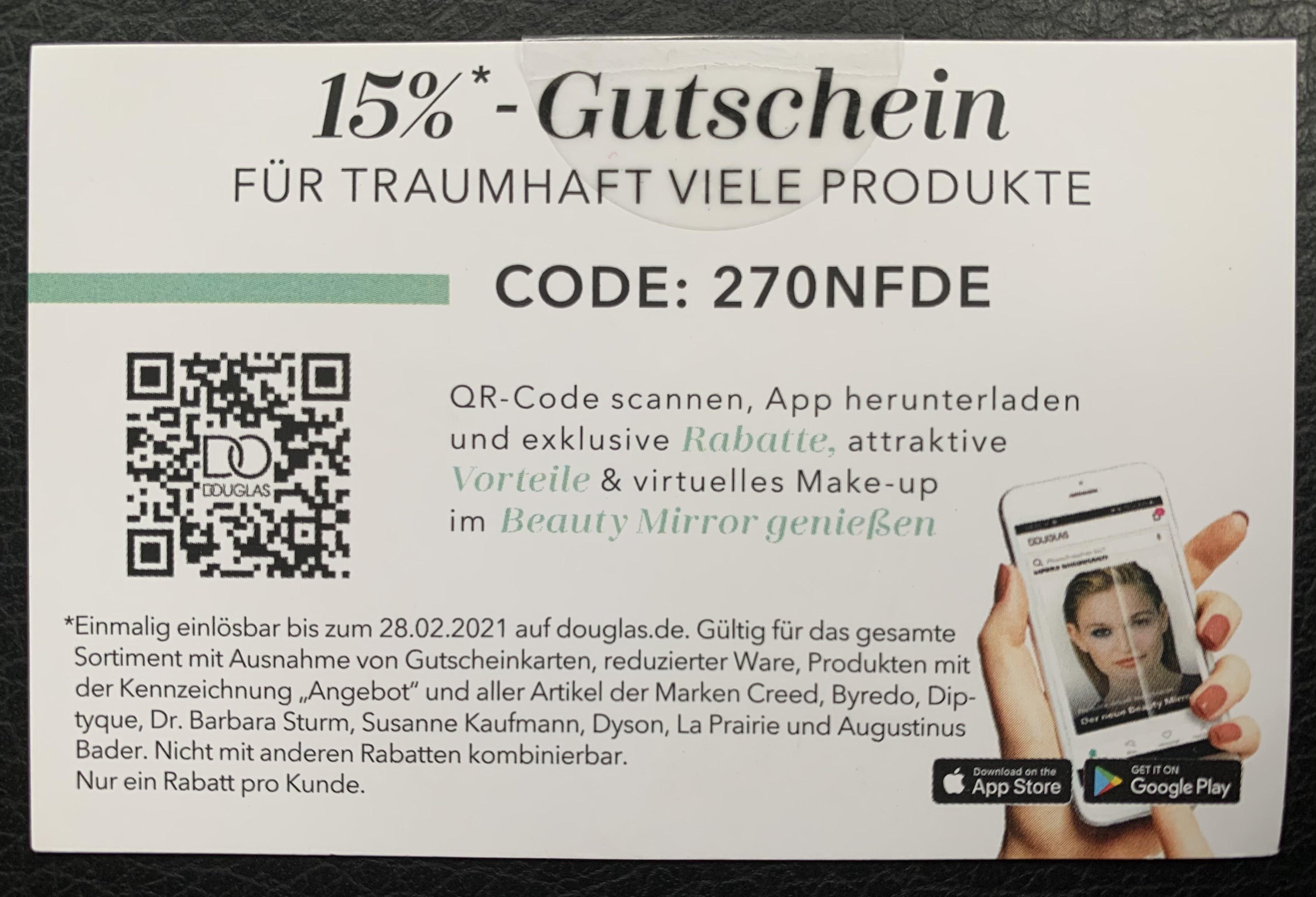 DOUGLAS 15% Gutschein (Einmal pro Kunde)