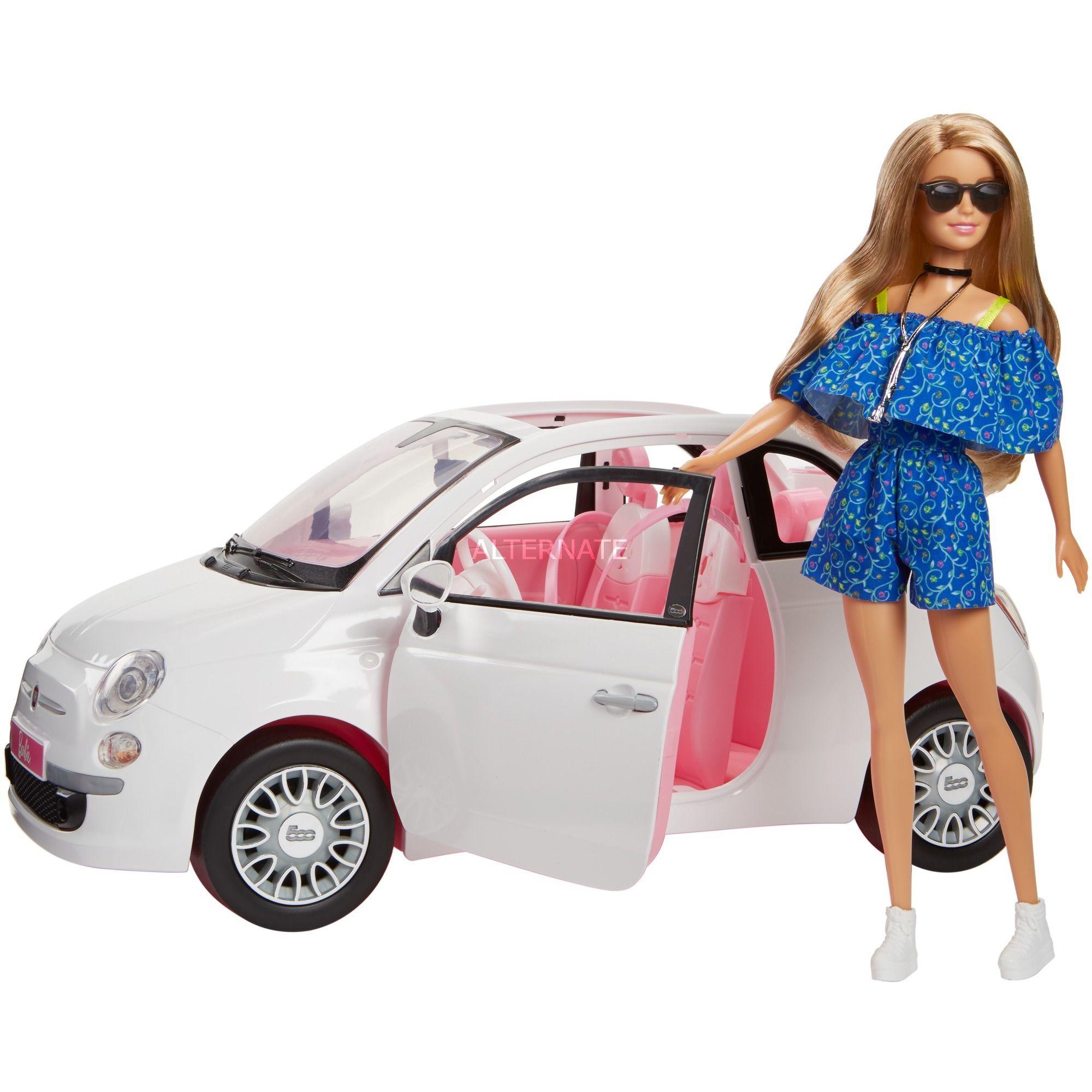 [Alternate] Barbie FVR07 - Puppe und Fiat 500 Auto in weiß und pinker Inneneinrichtung, Puppenzubehör und weitere