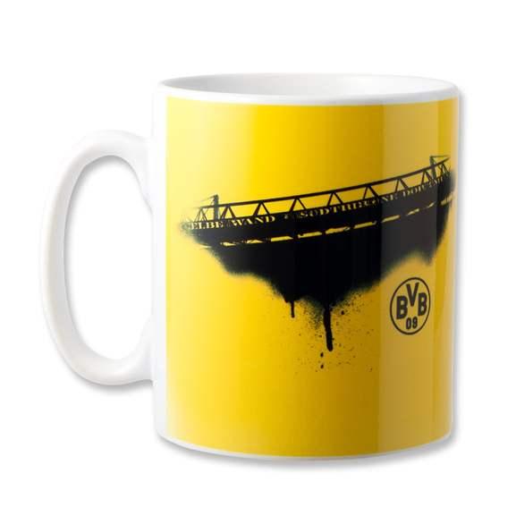 Viele Borussia Dortmund Fanartikel stark reduziert - z.B. BORUSSIA DORTMUND WIR HALTEN FEST UND TREU ZUSAMMEN Tasse