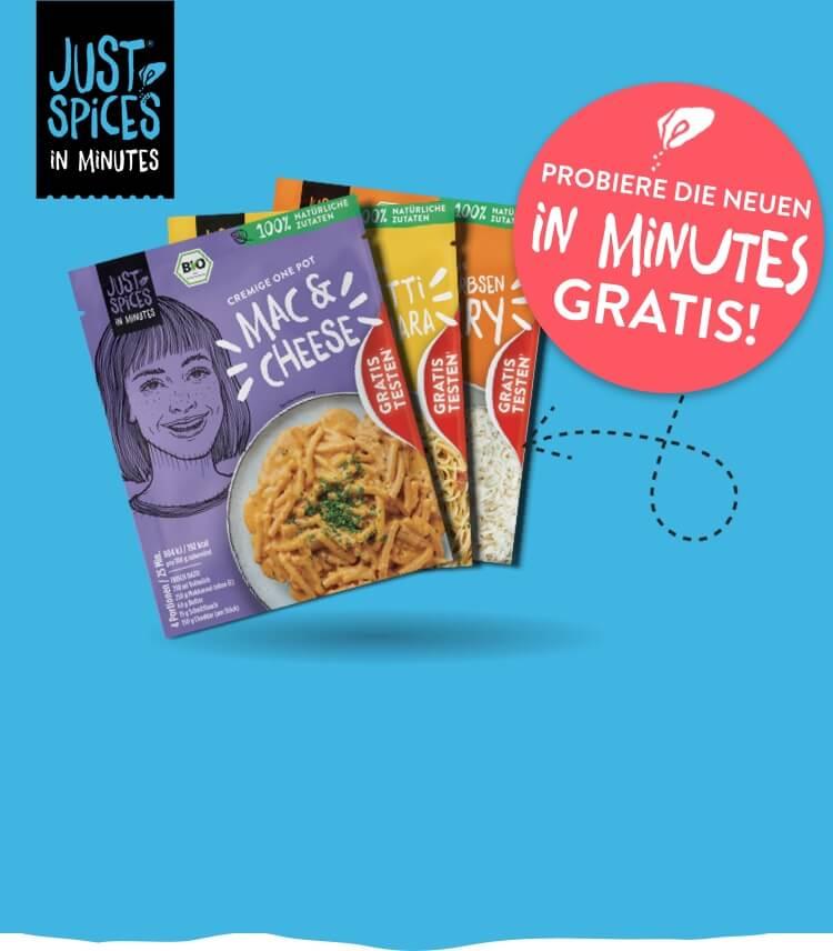 [GzG] 6x Just Spices In Minutes Bio-Würzmischungen für warme Gerichte Gratis Testen & 100% Geld zurückerhalten (nur Verlängerung)