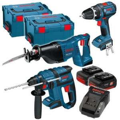 Bosch 18 Volt Akku 4-Tool Kit @ebay.de / svh24 (Schrauber. Bohrhammer, Säbelsäge, Lampe) 30% unter idealo