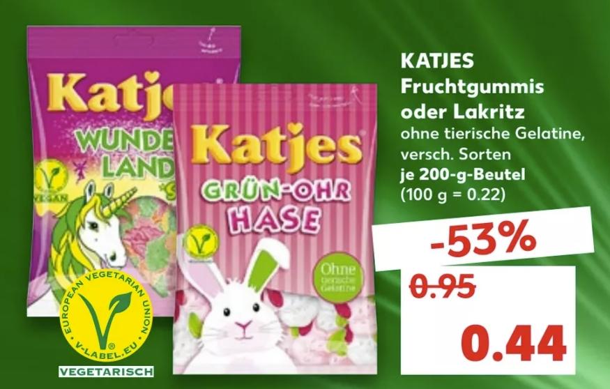 [Kaufland ab 01.02} Katjes Fruchtgummi 0,44€ / Coppenrat& Wiese Goldstücke für 0,88€ / Kinder Überraschungs-Ei für 0,49€