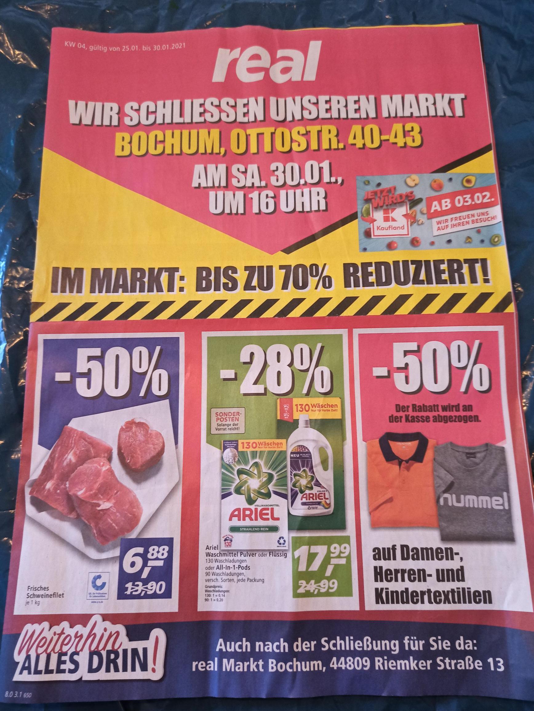 Bis zu 70% Reduziert. Real Bochum Wattenscheid schließt.