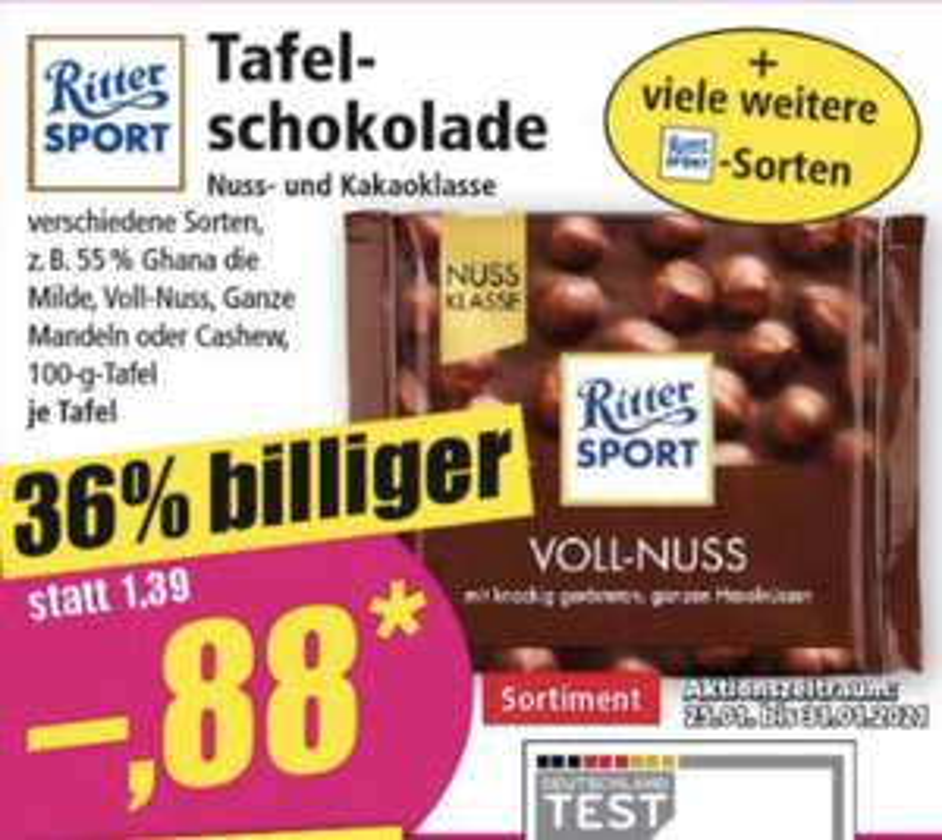 NORMA: Ritter Sport Nussklasse und Kakaoklasse 0,88