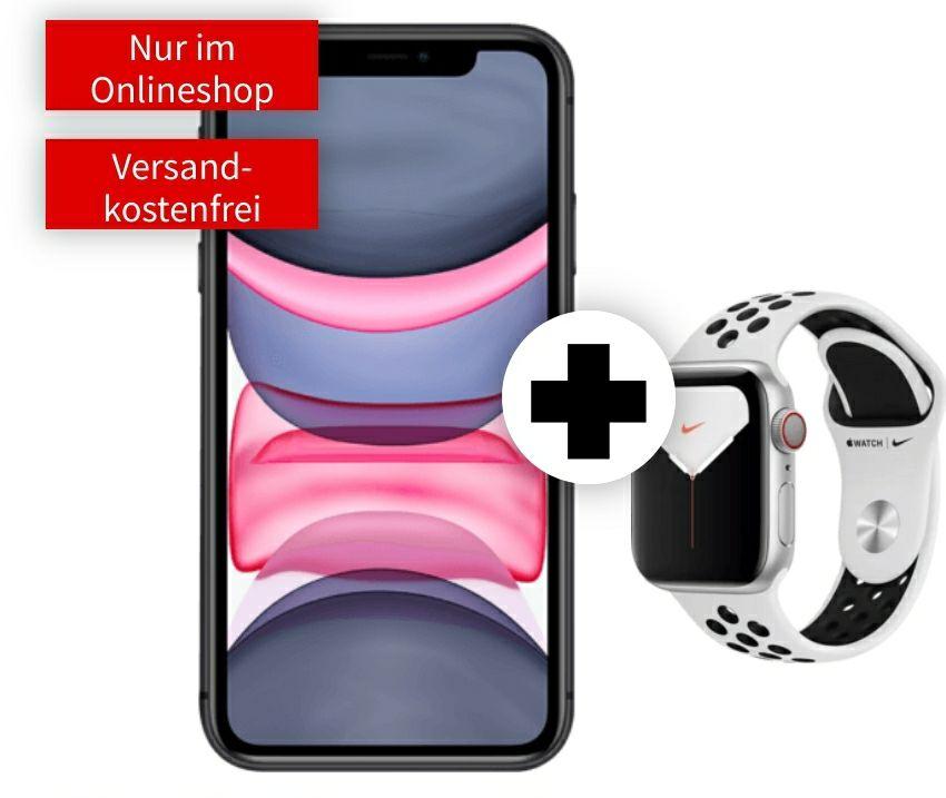 iPhone 11 64GB mit Watch 5 40mm Nike Cellular im Debitel Vodafone (40GB LTE bis 50Mbit, Allnet/SMS) mtl. 39,99€ einm. 129€