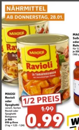 [Regional Kaufland Korbach,Göttingen,Biedenkopf ab 28.01] Maggi Ravioli 800-810g für 0,99€/ Mövenpick Eis für 1,49€ / Lay´s Chips für 0,77€