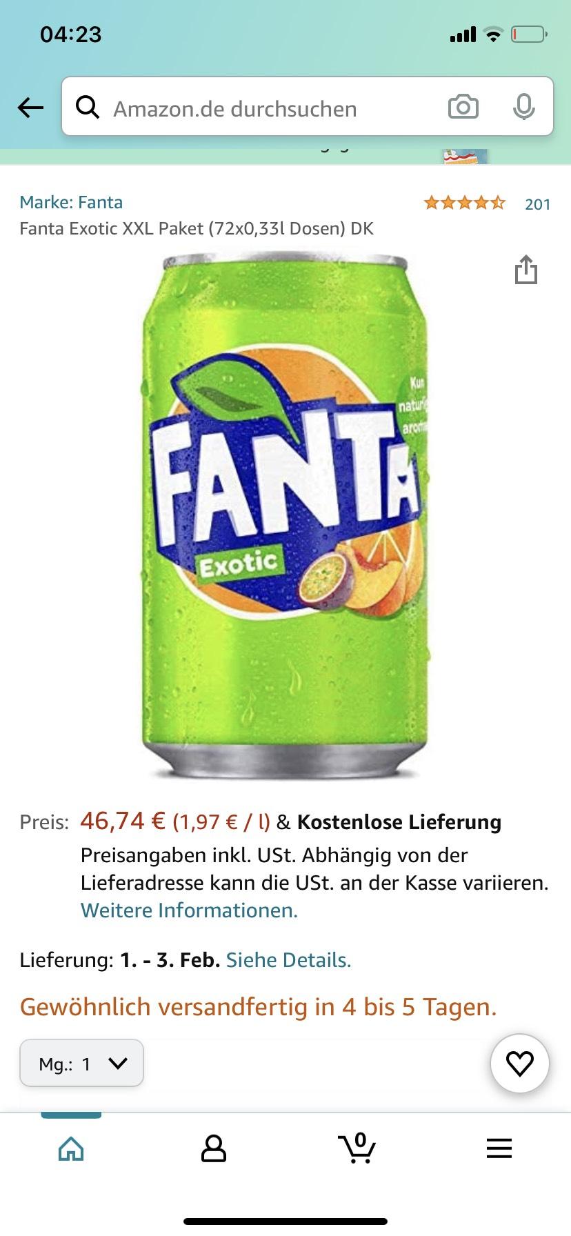 Fanta Exotic XXL Paket (72x0,33l Dosen) - 0,65€ pro Dose
