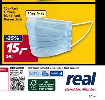 Ab 28 Januar in Real Markt 50 St. für 15 Euro Einweg Mund Nasenschutzmasken