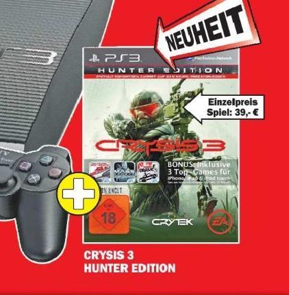 Crysis 3 Hunter Edition PS3 für 39€ oder im Bundle mit einer PS3 12GB für 222€ im MediaMarkt (Frankfurt Nordwestzentrum)