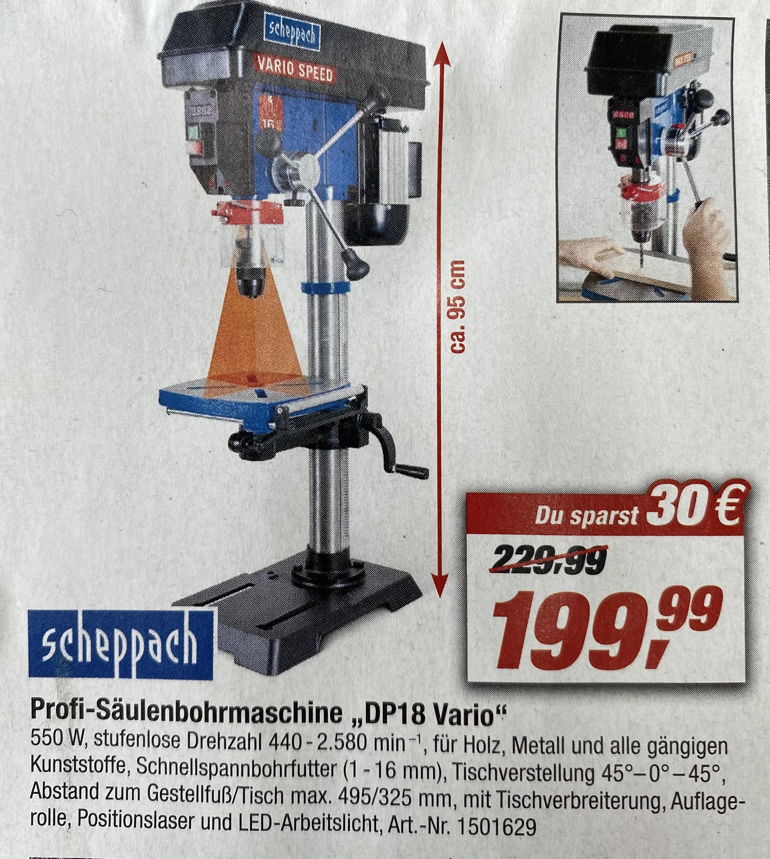 Scheppach DP18 Tischbohrmaschine / Säulenbohrmaschine