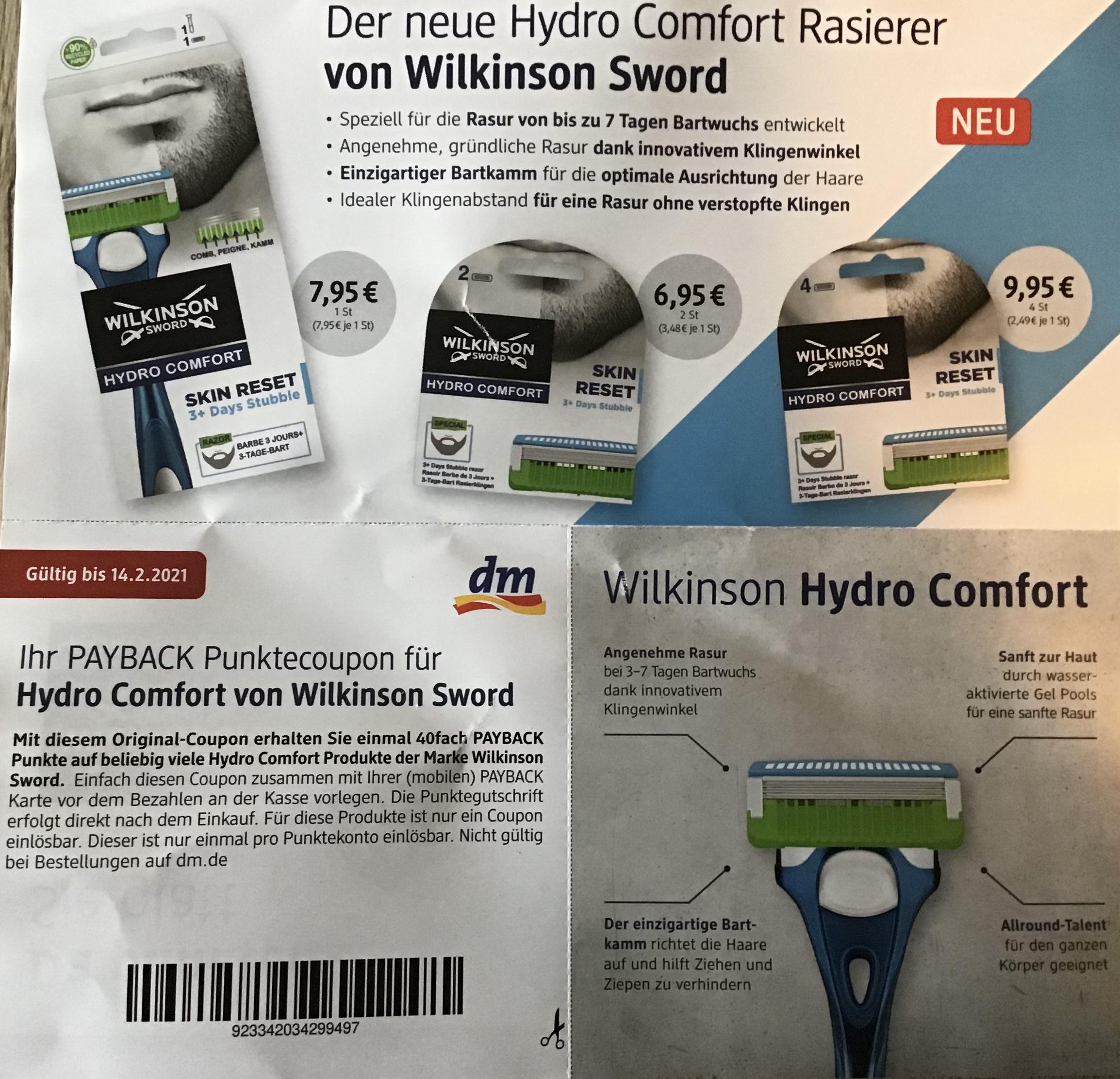 [dm PAYBACK] 40fach Punkte auf Wilkinson Hydro Comfort Rasierer und Ersatzrasierklingen