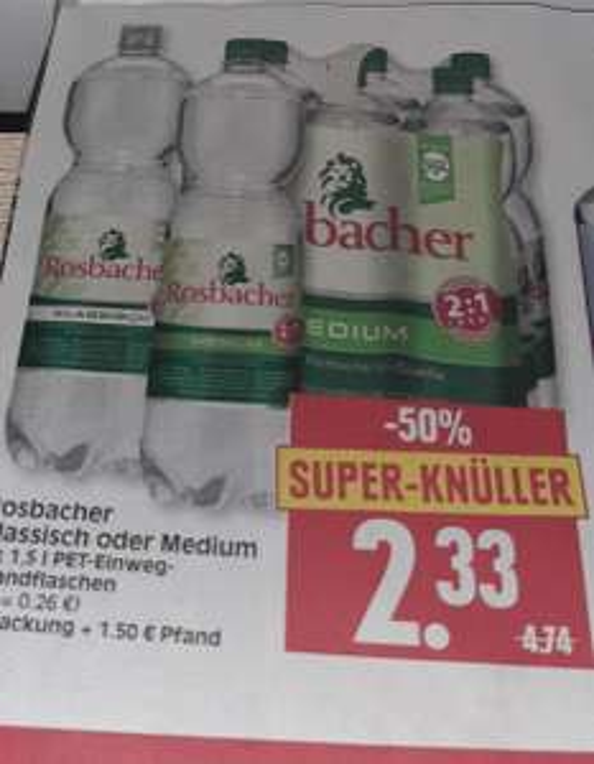 Rossbacher Mineralwasser 6er Pack nur 2.33€