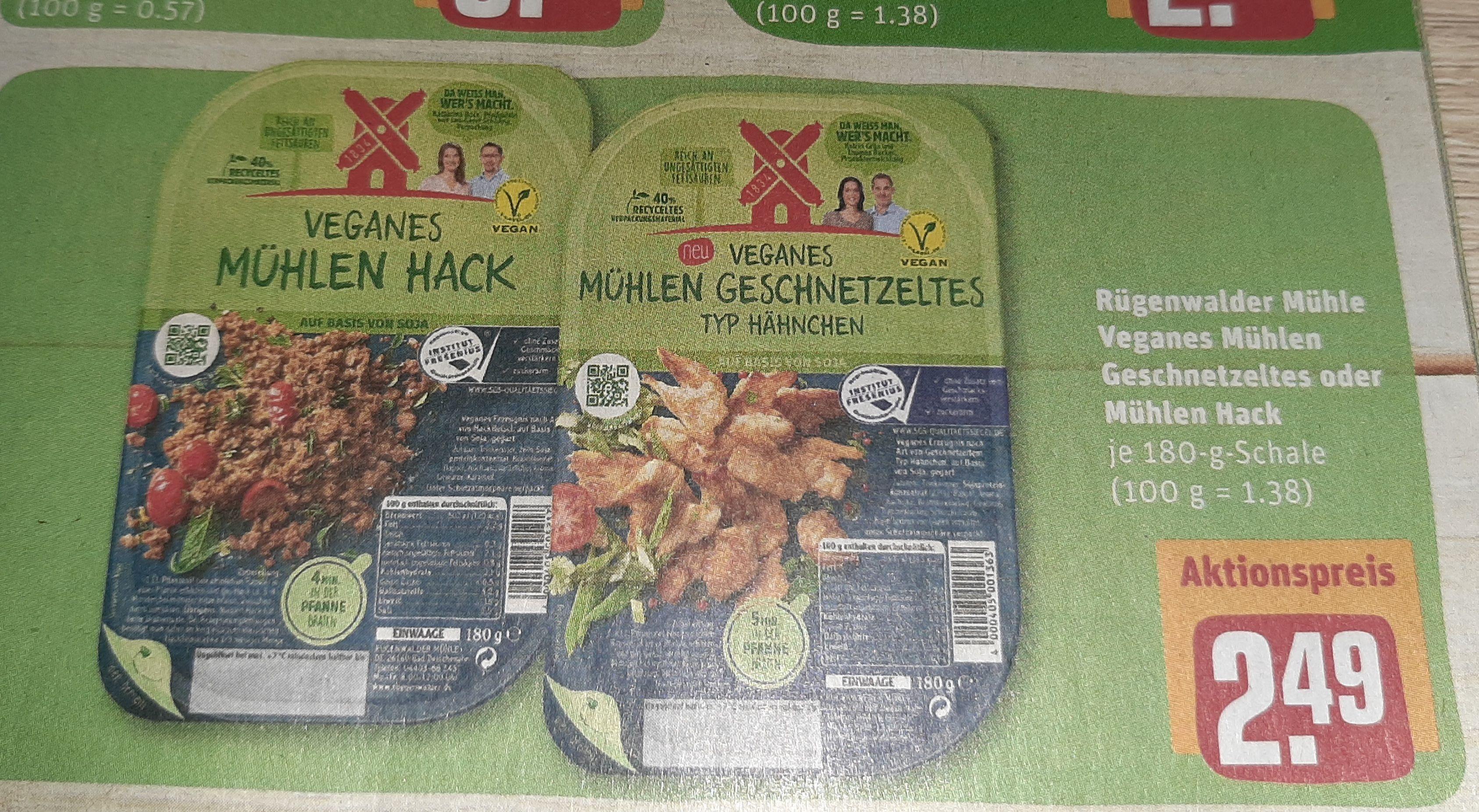 Rügenwälder Mühle Veganes Geschnetzeltes und Hackfleisch für 2.49€