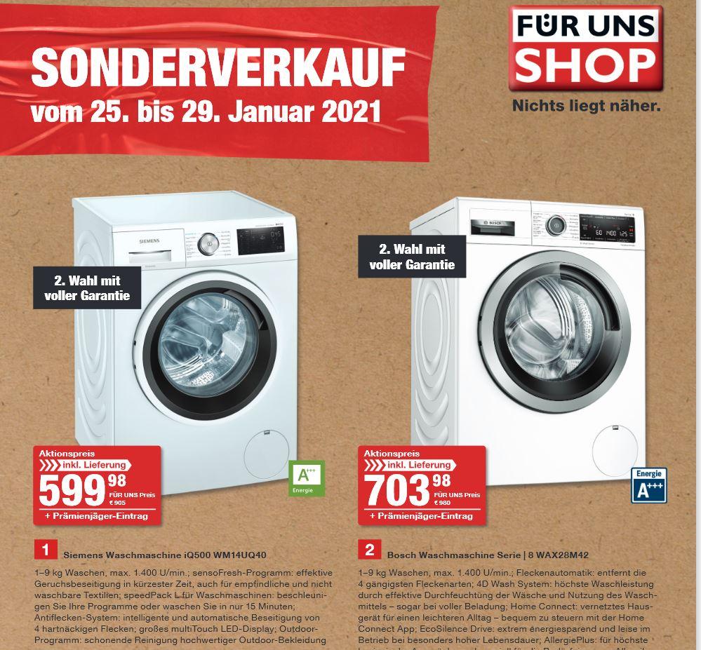FÜR UNS SHOP Sonderverkauf 2.Wahl Geräte ab dem 25.01.-29.01.2021 für ALLE Beispiel : Siemens Waschmaschine iQ500 WM14UQ40 für 599€