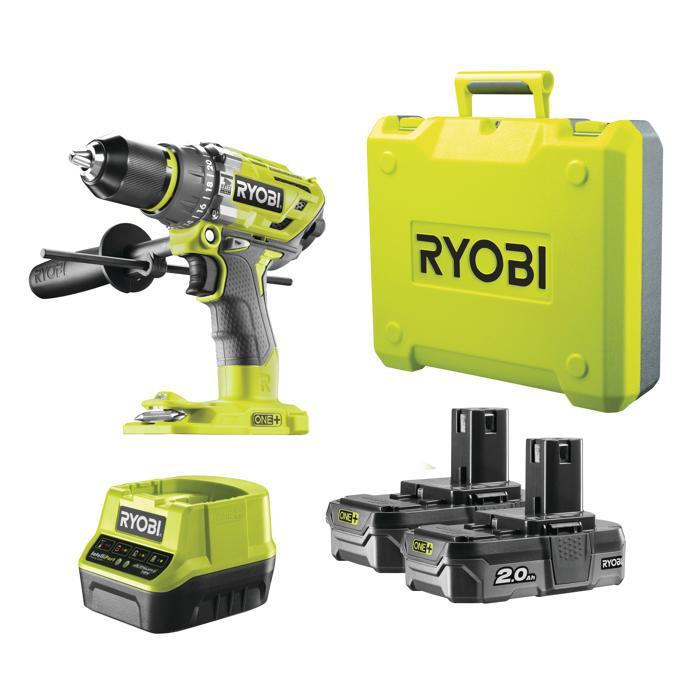 [toom] RYOBI R18PD7-220B Akku-Schlagbohrschrauber, 2 Akkus, Ladegerät, Koffer