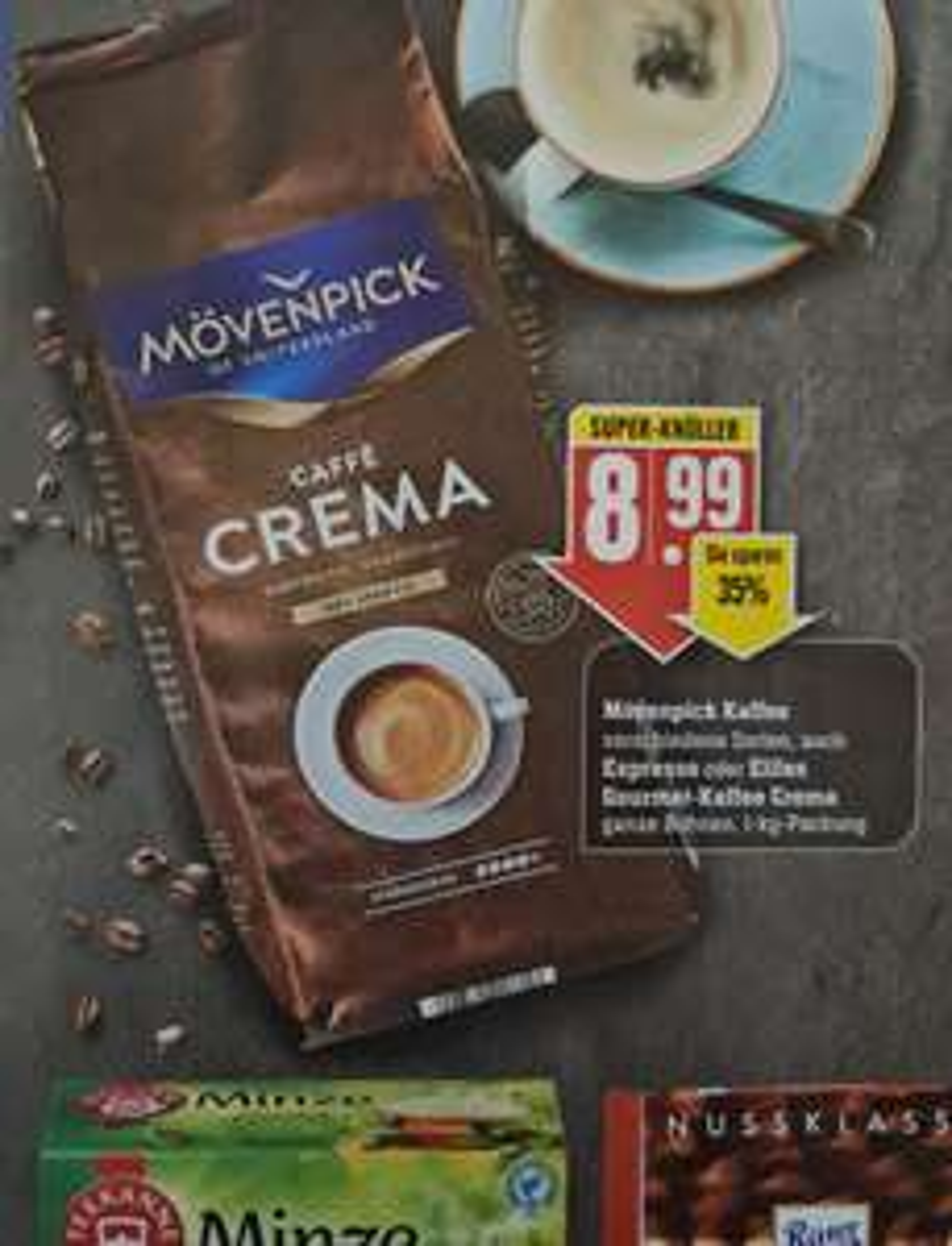 Mövenpick Caffè Crema Bohnen 1kg Packung im Edeka ab 25.01