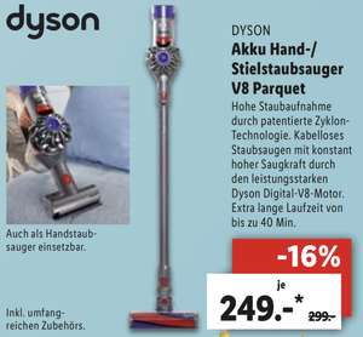 Lidl Berlin u. Regensburg: Dyson V8 Parquet Akku Handstaubsauger inkl. umfangreichen Zubehör für 244€