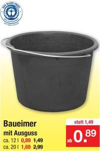 Baueimer mit Ausguss 12 Liter für 89 Cent oder 20 Liter für 1,69 Euro (Blauer Engel) [Zimmermann]