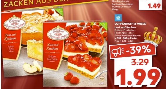 [Regional Kaufland Leipzig Paunsdorf Center ab 28.01] Coppenrath&Wiese-Lust auf Kuchen für 1,99€ oder 1,49€ mit Coupon