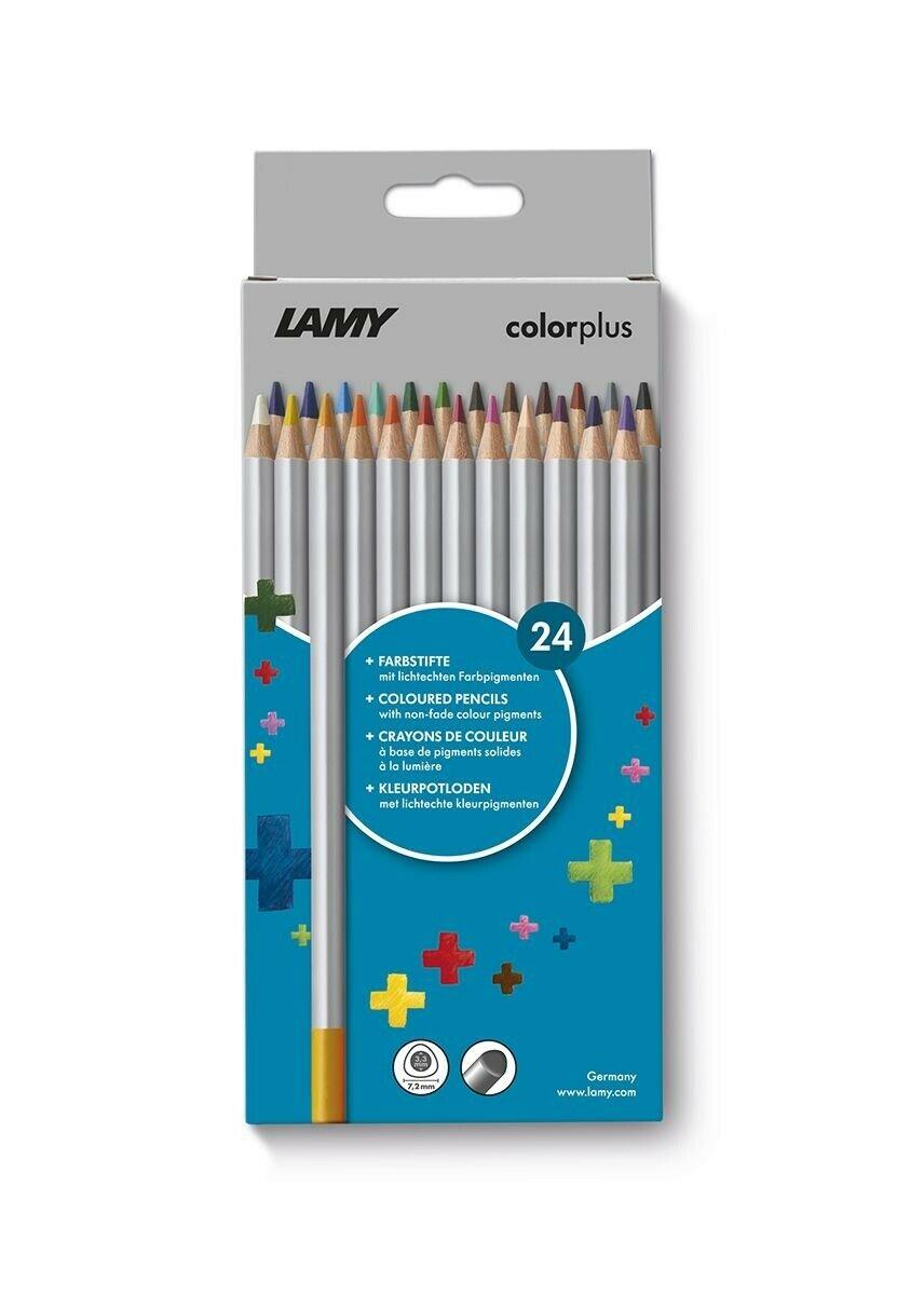 [Müller-Abholung] LAMY colorplus Farbstifte 506 24er-Set mit ergonomischer Dreieckform – Dicke Mine Ø 3,3 mm, Farbstift Ø 7,2 mm für 5,29€