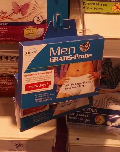 DM (bundesweit?): TENA Gratis-Probe MEN Hygiene-Einlagen