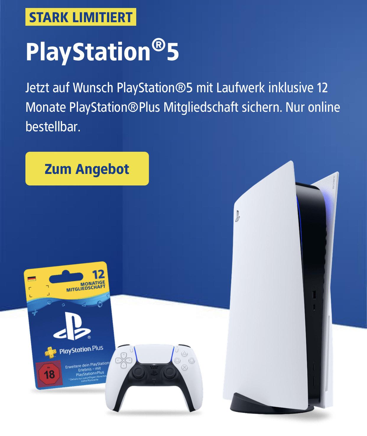PS5 + 12 Monate PS Plus Mitgliedschaft + DSL 100