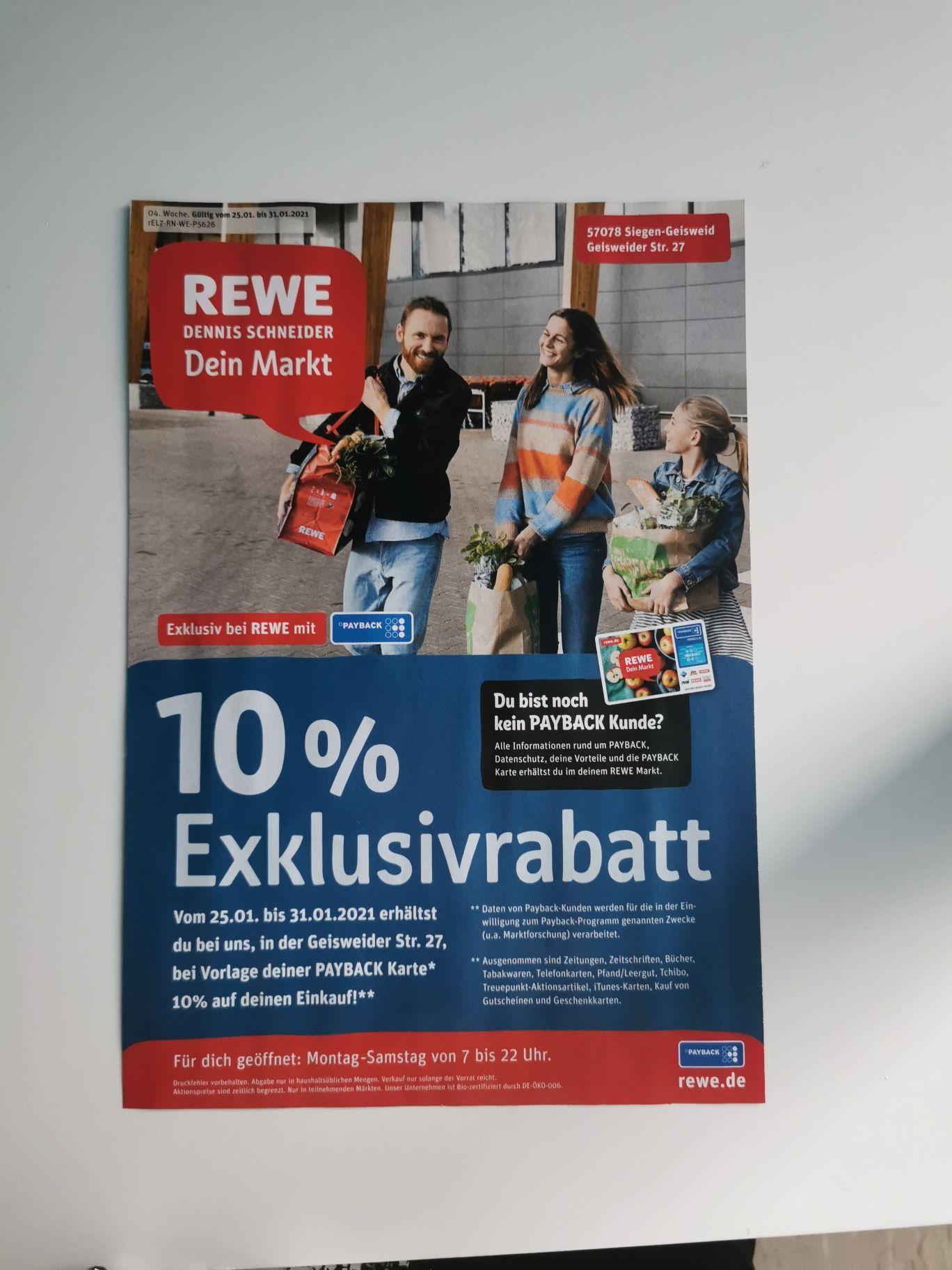 (Lokal Rewe Siegen Geisweid) 10% Rabatt auf den Einkauf bei Vorlage der Payback Karte