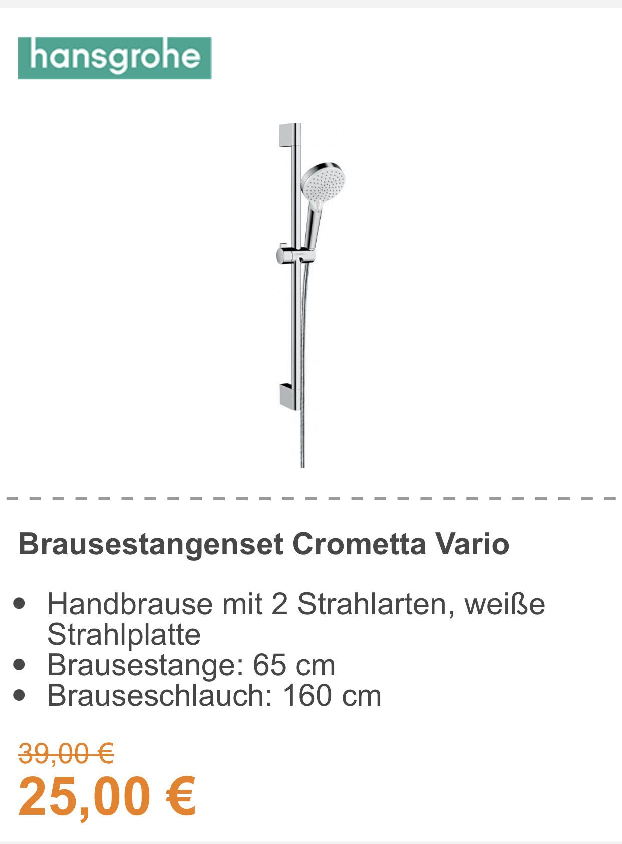 (Bauhaus TPG) Hansgrohe Brausestangenset Crometta Vario inkl. Handbrause, Brausestange, Brauseschlauch 65cm