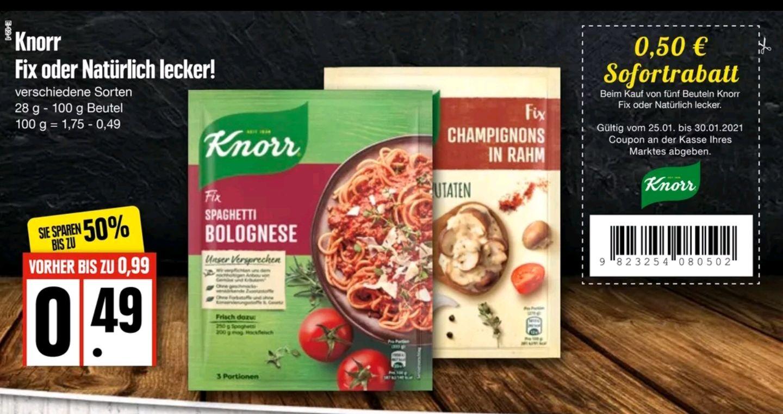 Edeka Nord, 5xKnorr Fix oder Knorr natürlich lecker für 1,95€ statt 2,45€ (0,39€/Stück)